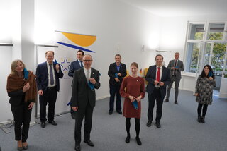 State Secretary of the German Federal Foreign Office, Miguel Berger, visites the office of the European Centre of Excellence for Civilian Crisis Management
